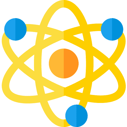 Icon of atom with protons and electrons