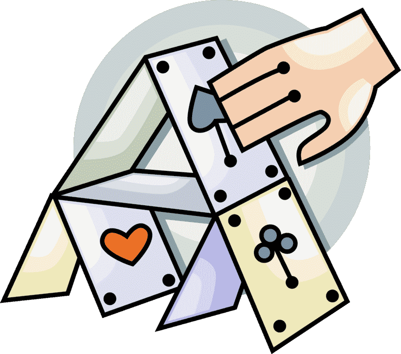 Icon of a hand touching a house of cards