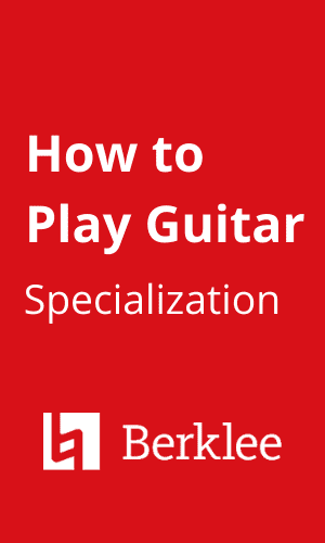 Logo of How to Play Guitar specialization by Berklee College of Music