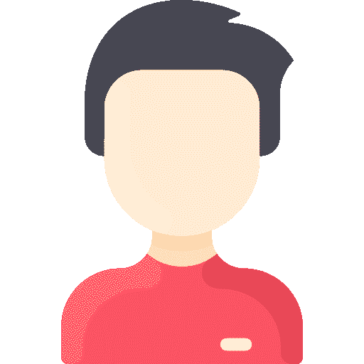 Icon of a man with black hair and red shirt
